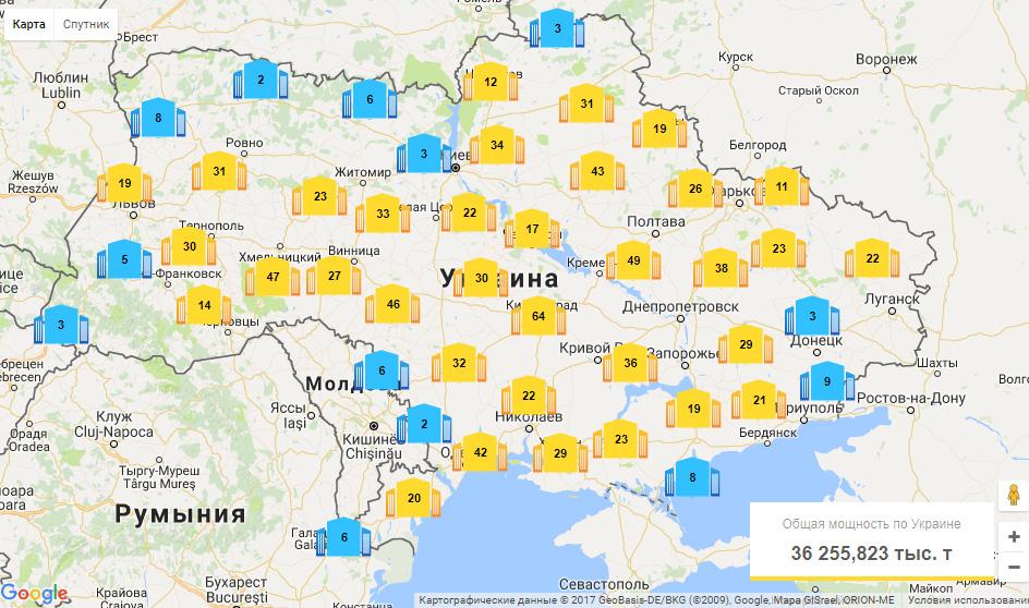 Карта элеваторы украины запчасти на транспортер т4 в москве